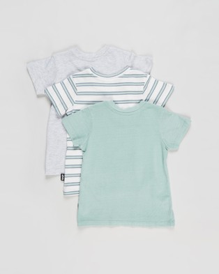 Cotton On Baby 3 Pack Jamie Short Sleeve Tee   Babies - T-Shirts & Singlets (Duck Egg Stripe, Cloud Marle & Duck Egg)