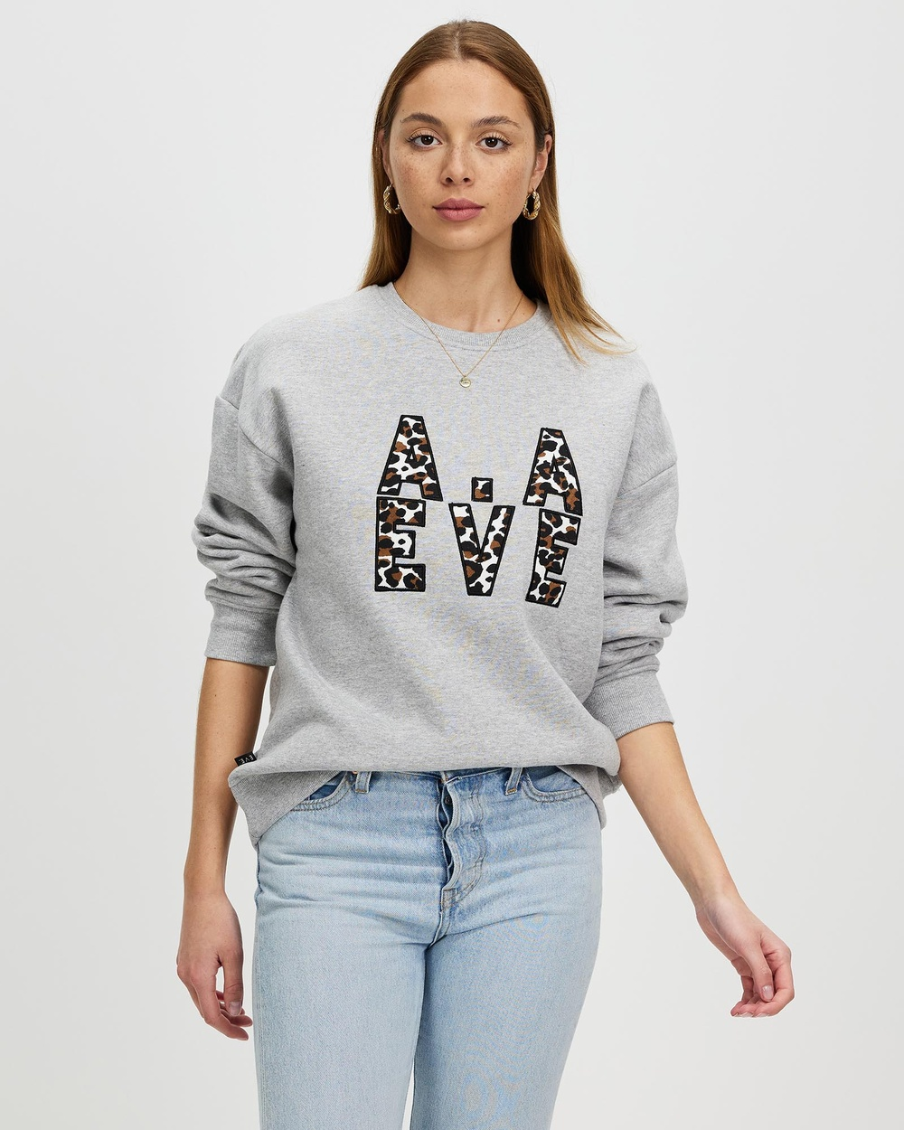 All About Eve Gemma Patched Crew Sweats Grey Marle