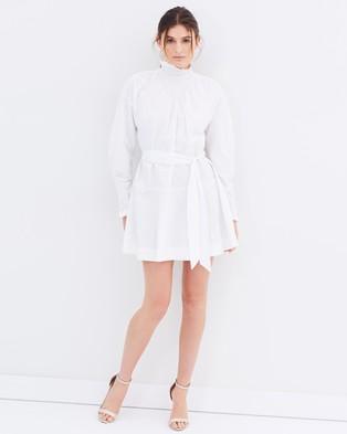 Lover – Honeycomb Long Sleeve Mini Dress – Dresses (White)