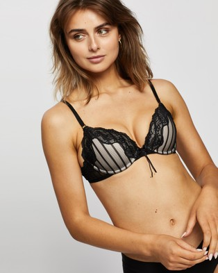 Heidi Klum Intimates Mesh with Lace Demi Bra - Underwire Bras (Black & Toasted Almond)