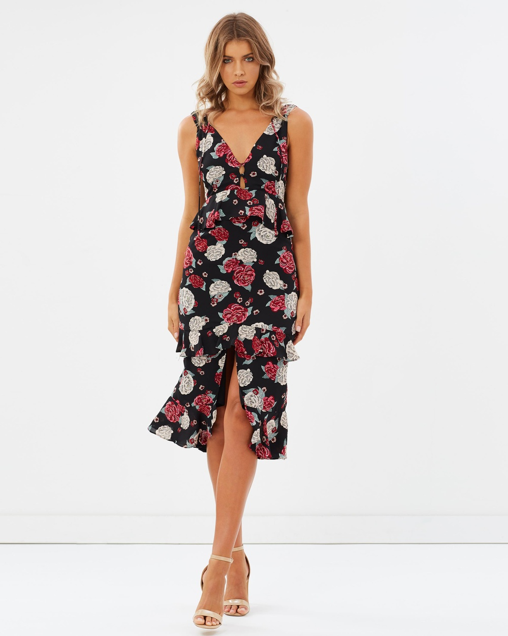 Atmos & Here ICONIC EXCLUSIVE Gretal Ruffle Midi Dress Printed Dresses Black Base Floral ICONIC EXCLUSIVE Gretal Ruffle Midi Dress