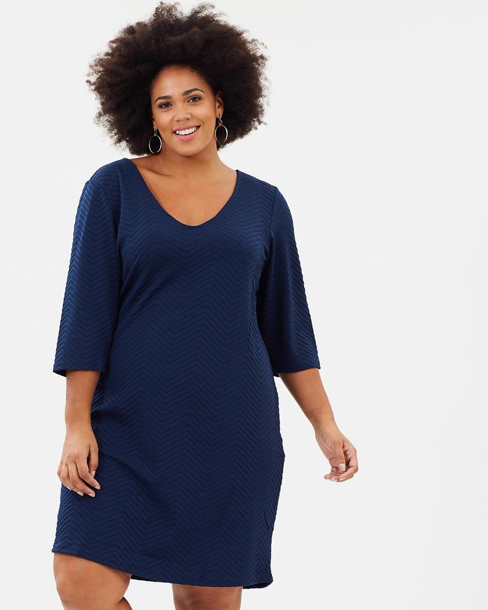 JUNAROSE 3 4 Sleeve Dress Dresses Navy Blazer 3-4 Sleeve Dress