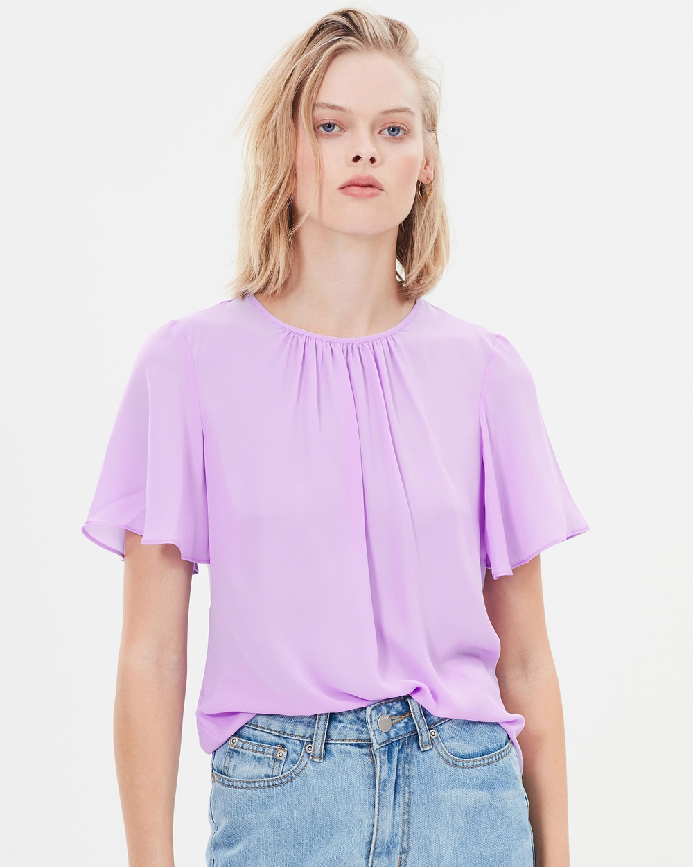 Warehouse Angel Sleeve Top Tops Lilac Angel Sleeve Top