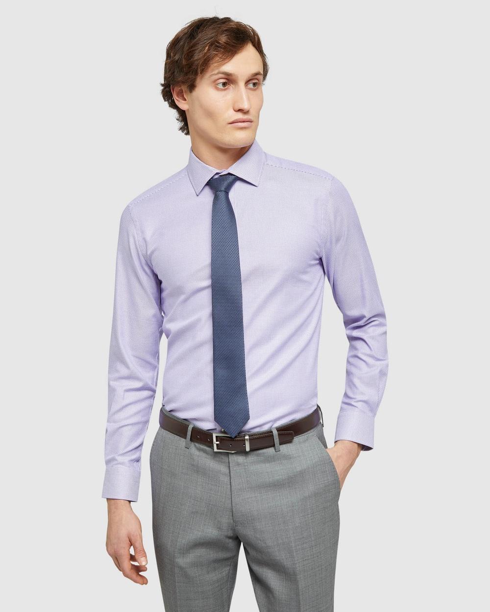 Oxford Beckton Dobby Shirt Shirts & Polos Purple