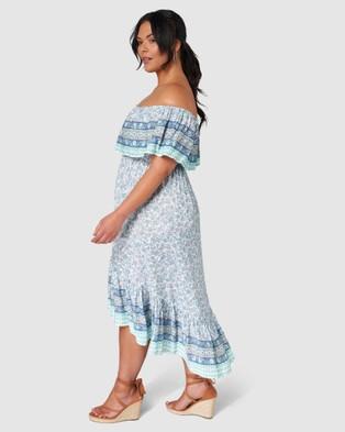Indigo Tonic Daisy Print Maxi Dress - Printed Dresses (Blue)