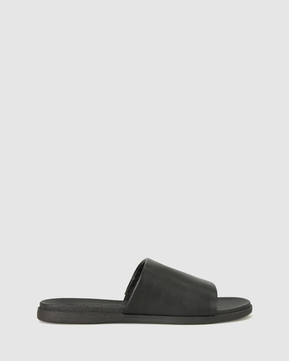 Zeroe Sofia Flat Mule Sandals Flats Black