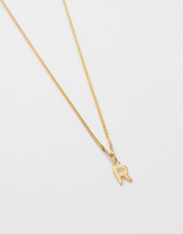 Women R Outline Initial Necklace