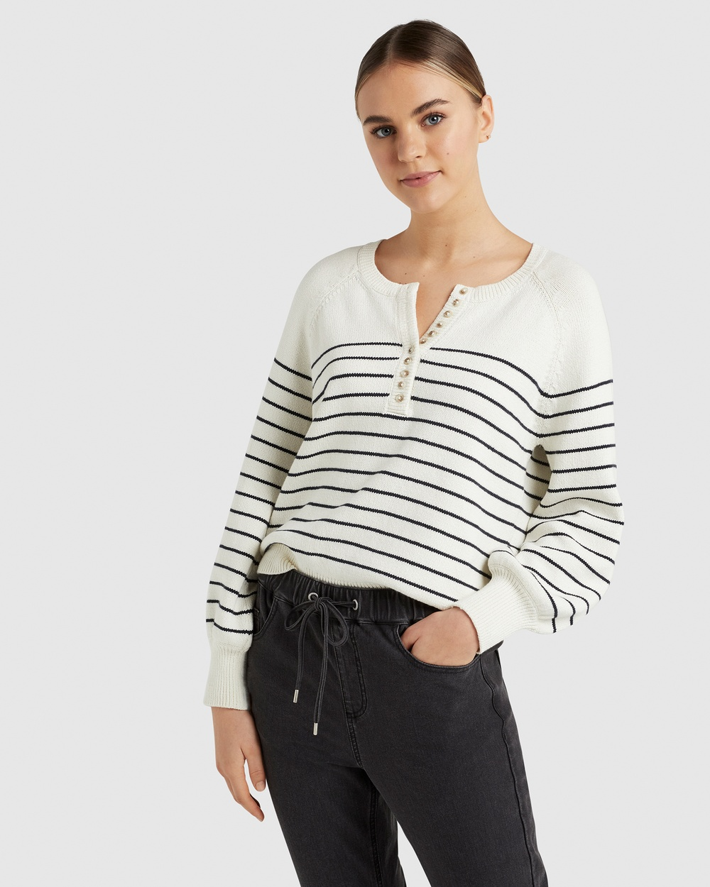 French Connection Stripe Button Through Knit Jumpers & Cardigans ECRU/FRENCH NAVY Australia