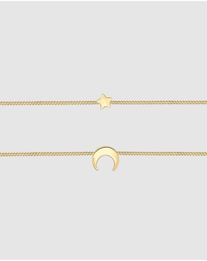 Elli Jewelry Necklace Choker Layer Crescent 925 Sterling Silver Gold-plated Gold