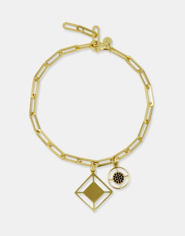 Women Large Link Charm Bracelet Gold with Black