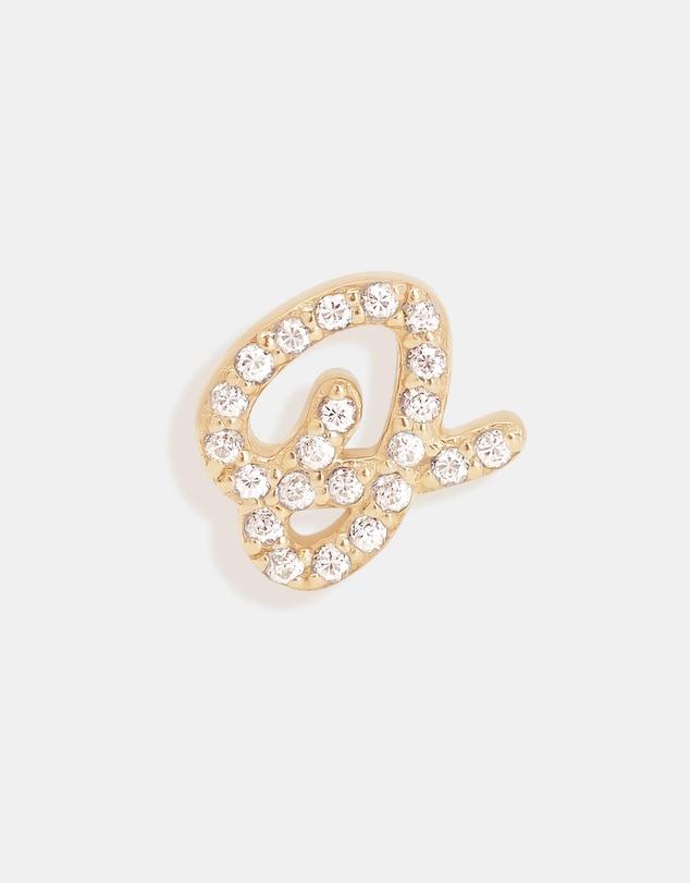 Women 14K Gold Diamond Love Letter O Single Earring