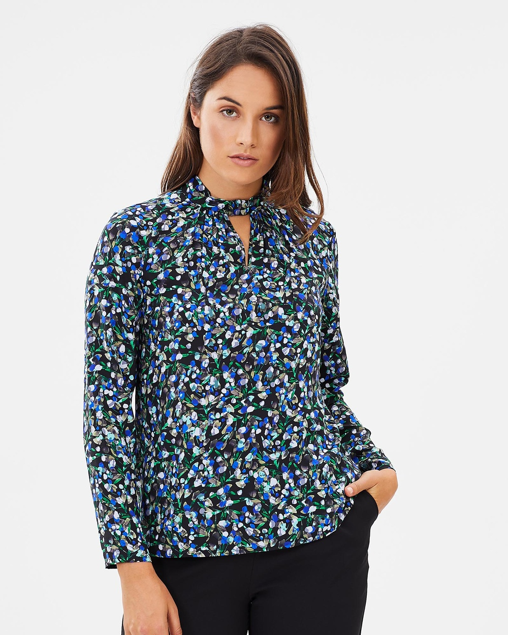 David Lawrence Long Sleeve Silk Valencia Printed Top Tops Blue Multi Long Sleeve Silk Valencia Printed Top