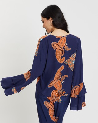 LENNI the label Ladytron Blouse - Tops (Navy Scarf)