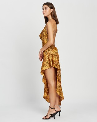 DERMA Leila Dress Printed Dresses Yellow Snake