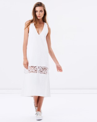 Vale Denim – Sea Script Lace Dress – Dresses (White)