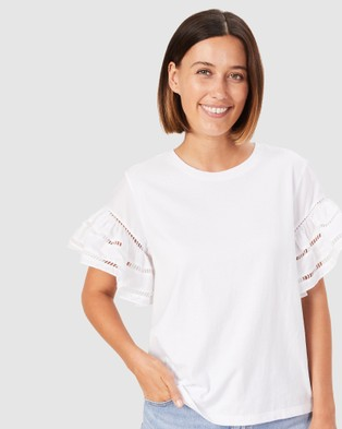French Connection Flutter Sleeve T Shirt - T-Shirts & Singlets (SUMMER WHITE)