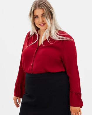 EVANS – Neru Longline Blouse with Flared Sleeves Red
