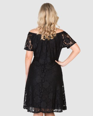 Love Your Wardrobe Stretch Lace Off The Shoulder Dress - Dresses (Black)