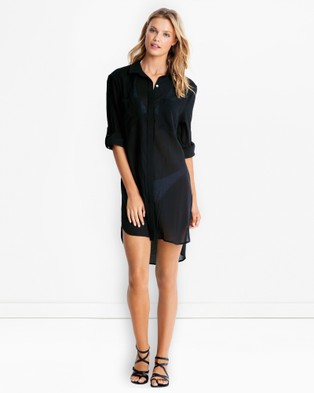 Seafolly – Crinkle Twill Beach Shirt – Swimwear Black