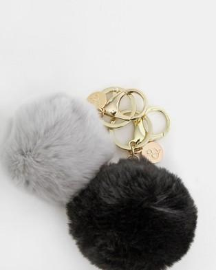 Belle & Bloom Faux Fur Pom Pom Key Ring 2 Pack - Key Rings (Multicolour)