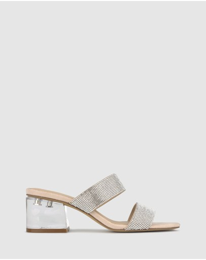 Betts Clarity Diamante Block Heel Sandals Blush