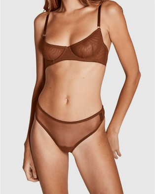 Sotto Brand Le Alba Mesh G String - Thongs & G-Strings (Brown)
