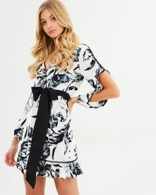 Atmos & Here – Ariana Draped Wrap Dress Monochrome Print