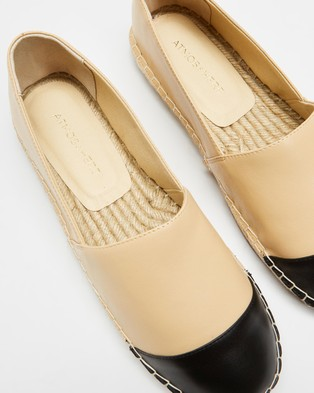 Atmos&Here Riviera Leather Espadrilles - Flats (Beige & Black Leather)