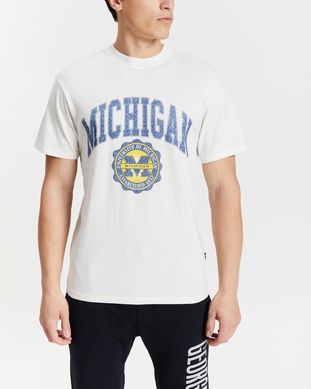 NCAA College Seal Tee Short Sleeve T-Shirts Michigan & Vintage White Australia