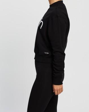 Calvin Klein Performance Logo Long Sleeve Mock Neck Pullover - Sweats (Black)