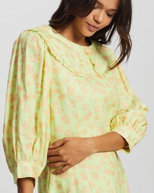 AERE Oversized Collar Mini Dress - Dresses (Lime Floral)