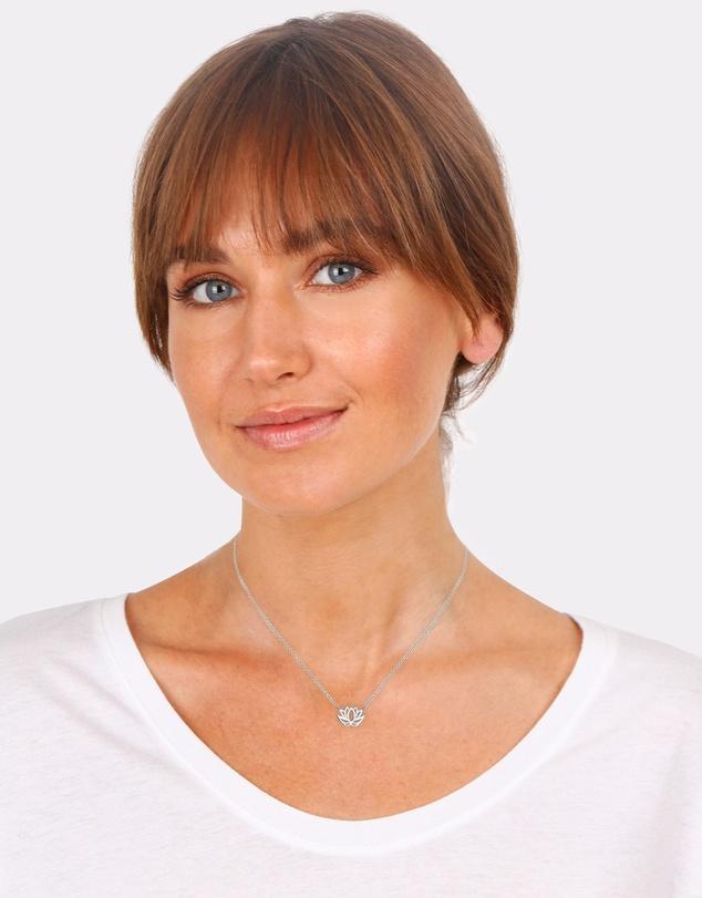 Women Necklace Lotus Flower 925 Sterling Silver