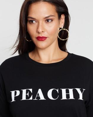 Atmos&Here Curvy Peachy Tee - T-Shirts & Singlets (Black & White)