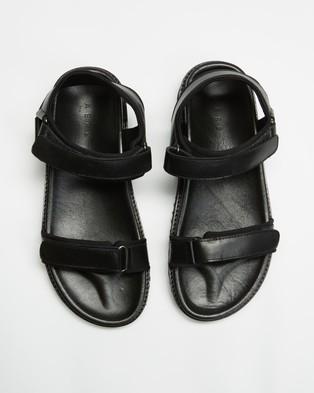 AERE Leather & Neoprene Chunky Sandals - Shoes (Black Leather & Neoprene)