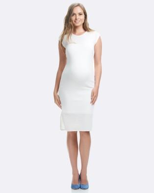 Soon Maternity – Romee Midi Maternity Dress – Bodycon Dresses white