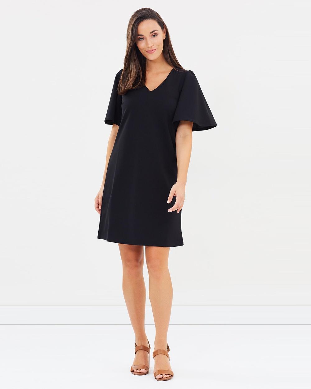 Dorothy Perkins Flutter Sleeve Shift Dress Dresses Black Flutter Sleeve Shift Dress