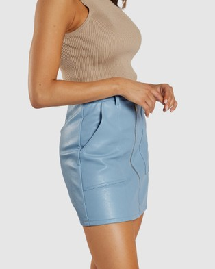 Apero Label Sophia Faux Leather Skirt - Leather skirts (Blue)