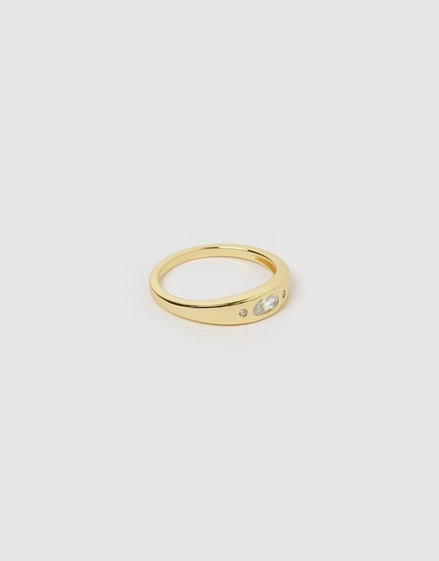 Women Mystique Gold and White Ring