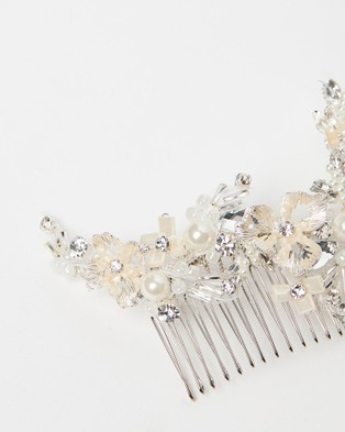 Ivory Knot Polly Hair Comb - Fascinators (Silver & Ivory)