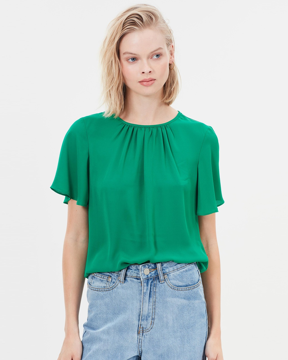 Warehouse Angel Sleeve Top Tops Green Angel Sleeve Top