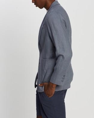 AERE Relaxed Linen Blazer - Blazers (Blue)