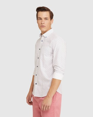 Oxford Stratton Oxford Weave Print Shirt - Casual shirts (White)