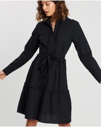 Atmos&Here - Belted Shirt Midi Dress