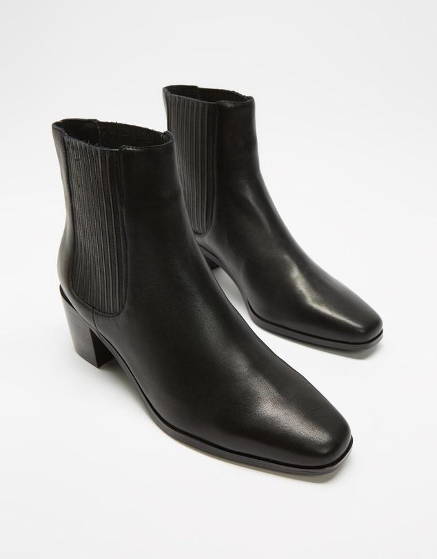Women Mid Heel Leather Chelsea Boots