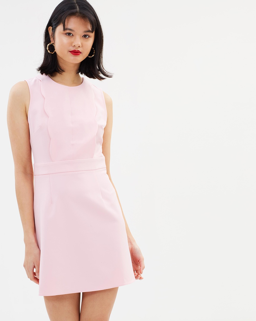 Miss Selfridge Scalloped Zip Dress Dresses Pink Scalloped Zip Dress