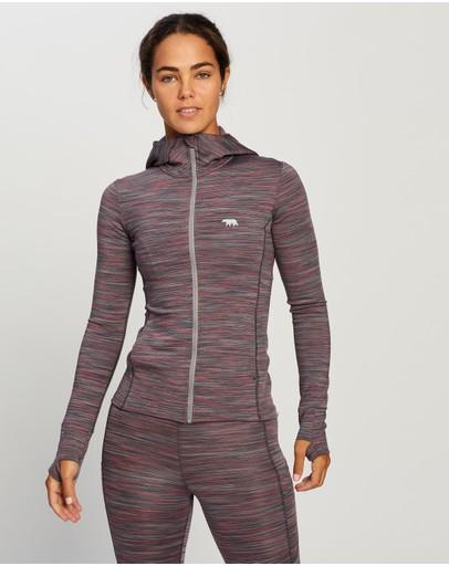 Running Bare The Elements Zip Jacket With Hood & Thumbholes Shiraz Space Dye