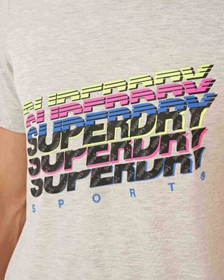 Superdry Sport Training Graphic Tee - Tops (Light Grey Marle)
