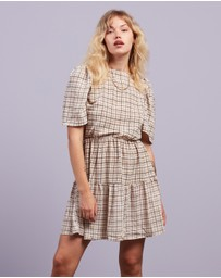 Missguided - Puff Sleeve SS Gingham Smock Dress