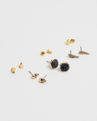 Icon Brand Skull, Wing & Jasper Composite Stud Pack - Jewellery (Grey with Antique Gold Finish)