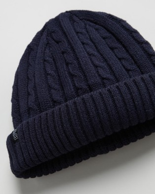 Billy Bones Club Fisherman Knit Beanie - Headwear (Navy Blue)